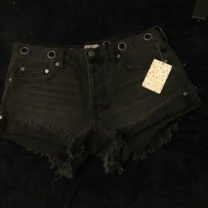 Free people Black Denim Grommet Shorts